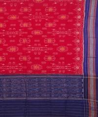 Red and blue sambalpuri handwoven cotton dupatta