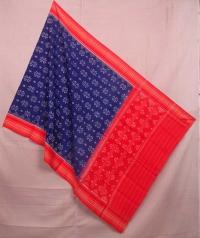 Blue and red sambalpuri handwoven cotton dupatta