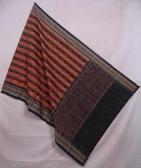 Brown and black sambalpuri handwoven cotton dupatta
