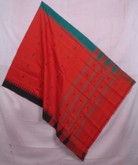 Fire orange handwoven kotpad dupatta