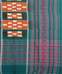 Orange and green sambalpuri handwoven cotton stole
