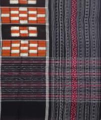 Orange and black sambalpuri handwoven cotton stole