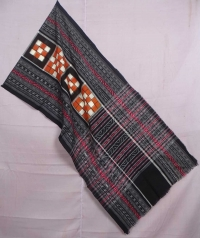 Orange and black sambalpuri handwoven cotton stole