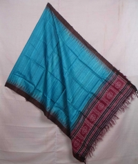 Blue and maroon handwoven tussar dupatta