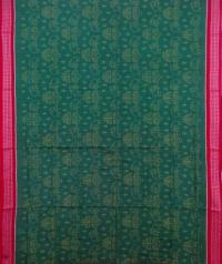 Green and red sambalpuri handwoven cotton saree