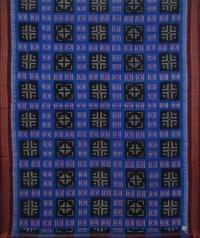 Blue and maroon sambalpuri handwoven cotton saree