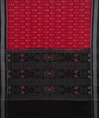 Red and black sambalpuri handwoven cotton saree