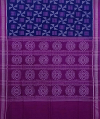 Blue and magenta sambalpuri handwoven cotton saree