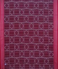 Maroon and red sambalpuri handwoven cotton saree