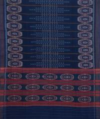 Blue sambalpuri handwoven cotton saree