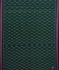 Green and black sambalpuri handwoven cotton saree