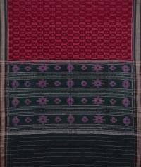 Maroon and black sambalpuri handwoven cotton saree