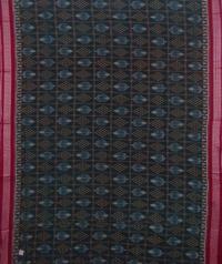 Green and maroon sambalpuri handwoven cotton saree