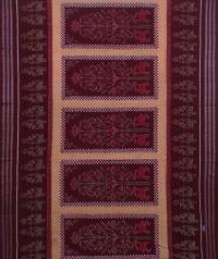 Maroon and brown sambalpuri handwoven cotton saree
