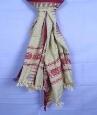 Off white & maroon handwoven tussar shawl
