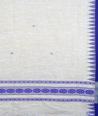 Off white & blue handwoven tussar shawl