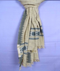 Off white handwoven tussar shawl