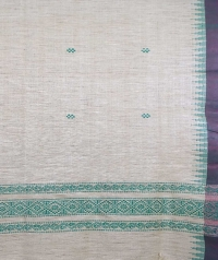 Off white & green handwoven tussar shawl