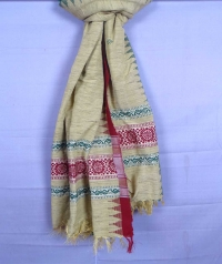 Off white,red & green handwoven tussar shawl