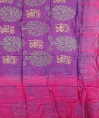 Pink & Purple handwoven tussar dupatta