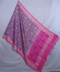 Violet & pink handwoven tussar dupatta