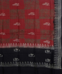 Charchol black & brick red handwoven tussar dupatta
