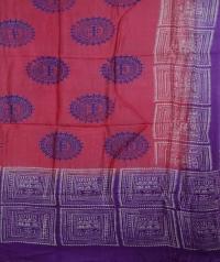 Punch pink & violet handwoven tussar dupatta