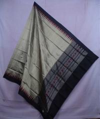 Beige & black handwoven silk dupatta