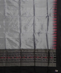 Grey & black handwoven silk dupatta