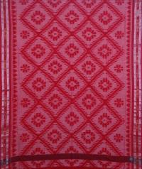Red handwoven sambalpuri cotton saree