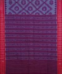 Maroon and red handwoven sambalpuri cotton saree