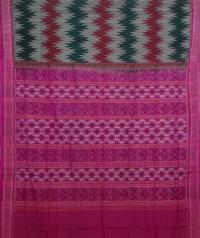Green, red and purple handwoven sambalpuri cotton saree