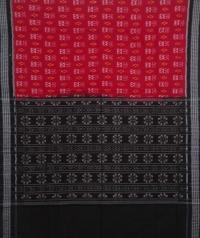 Red and black handwoven sambalpuri cotton saree