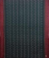 Green and maroon handwoven sambalpuri cotton saree