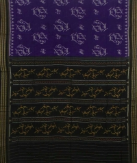 Violet and black handwoven sambalpuri cotton saree