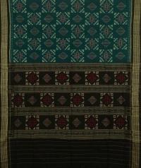 Navy blue and black handwoven sambalpuri cotton saree