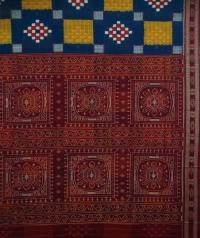 Blue and maroon handwoven sambalpuri cotton saree