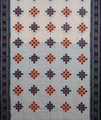 White and black handwoven sambalpuri cotton saree