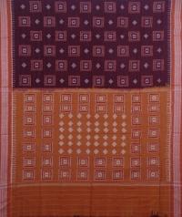 Maroon and brown handwoven sambalpuri cotton saree