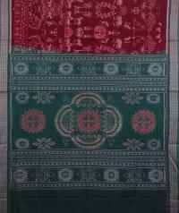 Maroon and green handwoven sambalpuri cotton saree