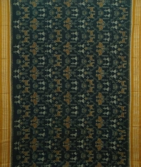 Blue and yellow handwoven sambalpuri cotton saree
