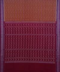 Brown and maroon handwoven sambalpuri cotton saree