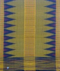 Yellow and black sambalpuri handloom cotton saree
