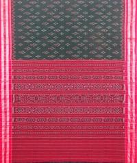 Green and red sambalpuri handloom cotton saree
