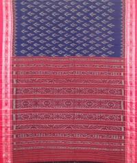 Blue and maroon sambalpuri handloom cotton saree
