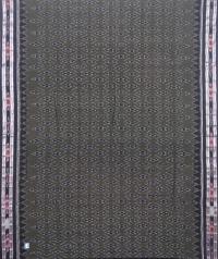 Ash gray and black sambalpuri handloom cotton saree