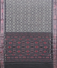 Gray and black sambalpuri handloom cotton saree