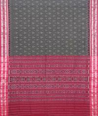 Ash gray and maroon sambalpuri handloom cotton saree