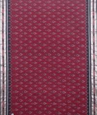 Maroon and black sambalpuri  handloom cotton saree