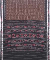 Pecan brown and black sambalpuri handloom cotton saree